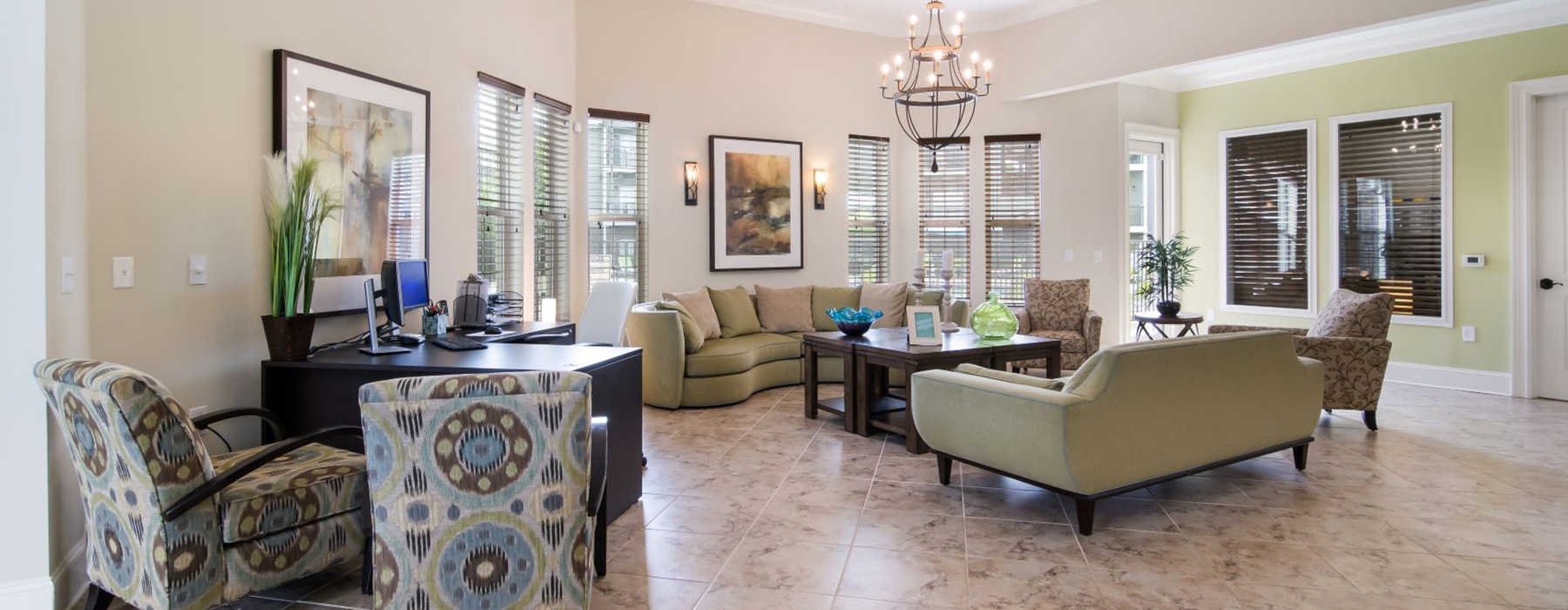 open leasing center with ample seating